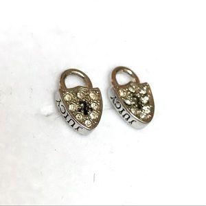 Juicy Couture Rhinestone Lock Earrings Studs Posts